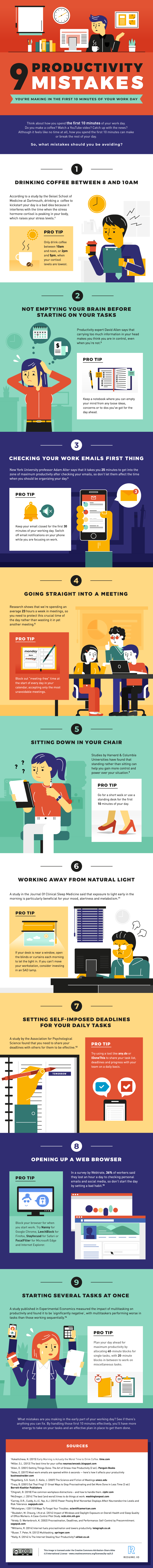 9 productivity mistakes infographics